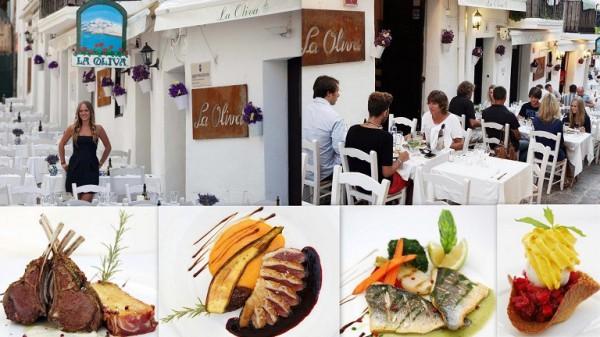 Restaurante LA OLIVA Calle de la Santa Creu, 2-6 07800   Ibiza (Eivissa) Telf.  (+34)  971 305 752   En el centro del casco antiguo, cuadro ibicenco típico que ha sido nombrado Patrimonio de  UNESCO